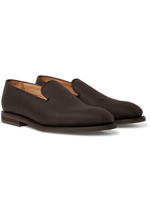 George Cleverley - Positano Waxed-cotton Loafers - Dark brown