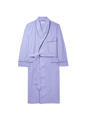 Kingsman - + Turnbull & Asser Piped End-on-end Cotton Robe - Light blue