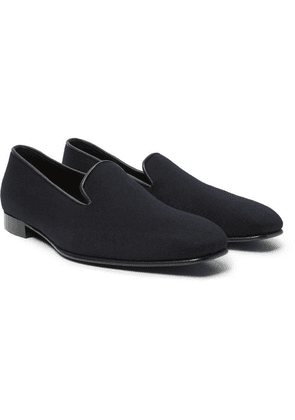 Anderson & Sheppard - + George Cleverley Leather-trimmed Cashmere Slippers - Navy