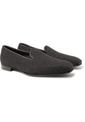 Anderson & Sheppard - + George Cleverley Leather-trimmed Cashmere Slippers - Gray