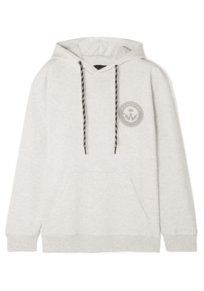 adidas Originals By Alexander Wang - Appliquéd Printed Cotton-jersey Hoodie - Light gray