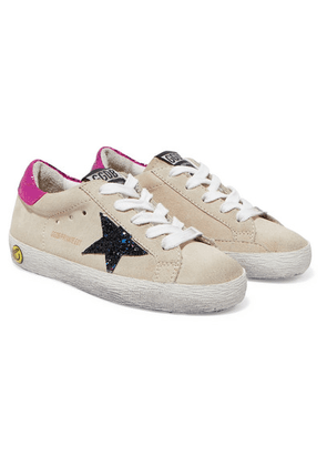Golden Goose Kids - Size 19 - 27 Superstar Glittered Distressed Suede And Metallic Leather Sneakers