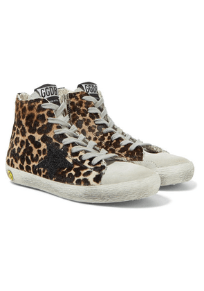 Golden Goose Kids - Size 28 - 35 Glittered Distressed Leopard-print Calf-hair Sneakers
