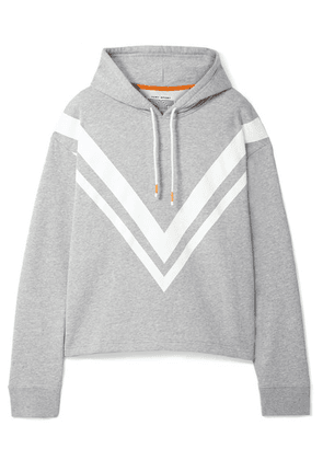 Tory Sport - Striped French Cotton-terry Hoodie - Gray