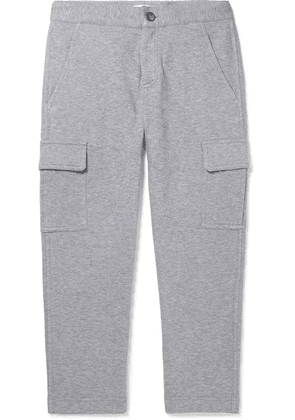 Brunello Cucinelli Kids - Ages 8 - 10 Mélange Cotton-blend Jersey Track Pants