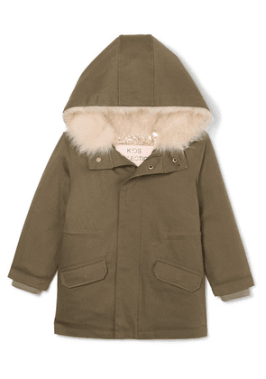 Yves Salomon Kids - Ages 4 - 6 Hooded Metallic Shell And Faux Shearling-lined Cotton-twill Parka