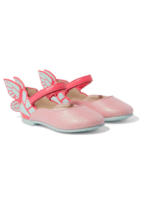 Sophia Webster Kids - Size 21 - 26 Chiara Glittered Suede And Patent-leather Ballet Flats