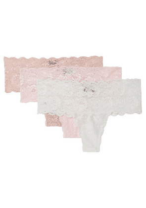 Cosabella - Never Say Never Set Of Three Stretch-lace Thongs - Pink