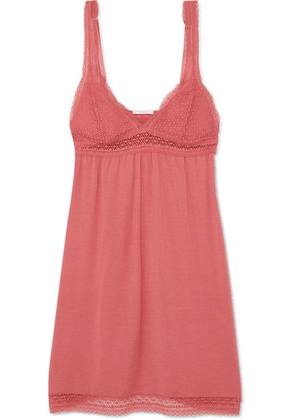 Eberjey - Addison Crocheted Lace-trimmed Stretch-modal Nightdress - Antique rose