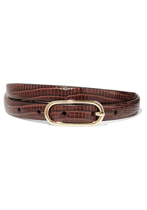 Anderson's - Lizard-effect Leather Belt - Burgundy