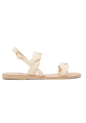 Ancient Greek Sandals - Plexi Braided Leather Sandals - Off-white