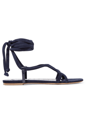 Gabriela Hearst - Reeves Suede And Croc-effect Leather Sandals - Navy