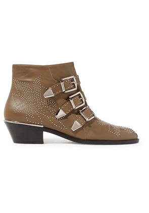 Chloé - Susanna Studded Leather Ankle Boots - Brown