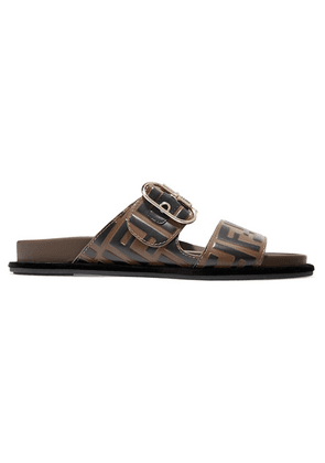 Fendi - Logo-print Leather And Rubber Slides - Brown