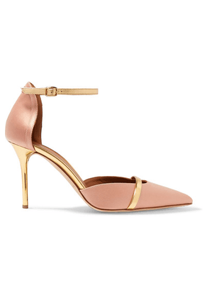 Malone Souliers - Booboo 85 Metallic Leather-trimmed Satin Pumps - Blush