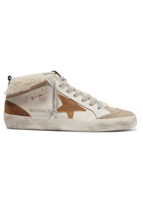Golden Goose - Mid Star Distressed Leather, Suede And Shearling Sneakers - Beige