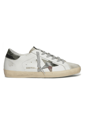 Golden Goose - Superstar Distressed Printed Leather And Suede Sneakers - White