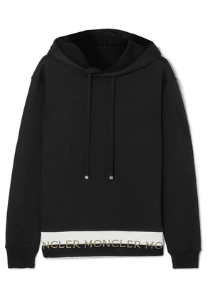 Moncler - Intarsia-trimmed Cotton-blend Jersey Hoodie - Black