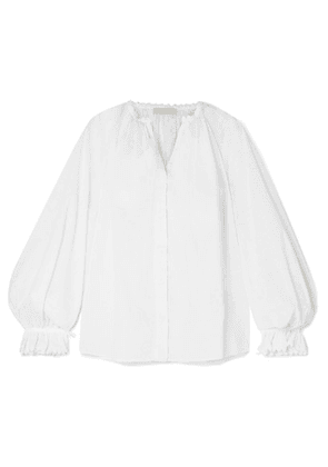 Etro - Lace-trimmed Printed Cotton Blouse - White