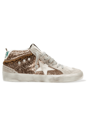 Golden Goose - Mid Star Distressed Glittered Leather And Suede Sneakers - IT39