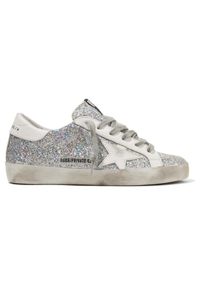 Golden Goose - Superstar Distressed Glittered Leather Sneakers - Silver