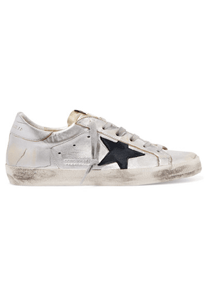 Golden Goose - Superstar Two-tone Distressed Metallic Leather Sneakers - Silver
