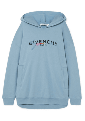 Givenchy - Oversized Printed Embroidered Cotton-jersey Hoodie - Light blue