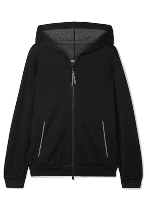 Brunello Cucinelli - Bead-embellished Cotton-blend Hoodie - Navy