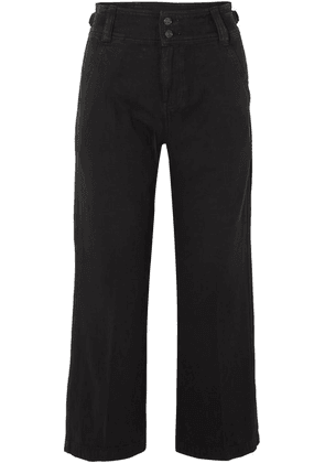 Current/Elliott - The Relaxed Army Cotton And Linen-blend Wide-leg Pants - Black