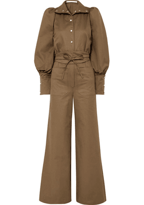 Anna Mason - Jane Cotton-twill Jumpsuit - Army green