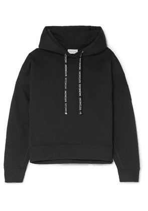 Moncler - Appliquéd Cotton-blend Terry Hoodie - Black