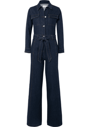 FRAME - Vintage Belted Denim Jumpsuit - Dark denim
