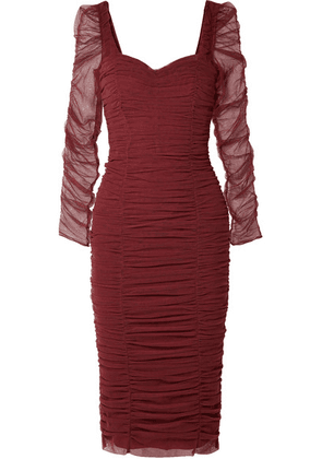 Dolce & Gabbana - Ruched Stretch-tulle Dress - Burgundy