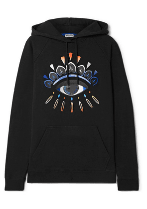 KENZO - Appliquéd Cotton-jersey Hoodie - Black