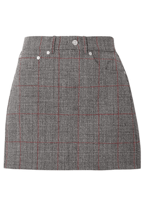 Helmut Lang - Femme Prince Of Wales Checked Wool Mini Skirt - Gray