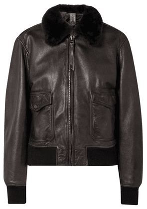 RE/DONE - 40s Shearling-trimmed Leather Jacket - Black