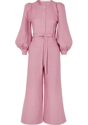 Anna Mason - Jane Belted Linen Jumpsuit - Blush