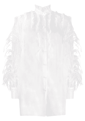 Valentino sheer feather embellished frilled shirt - White