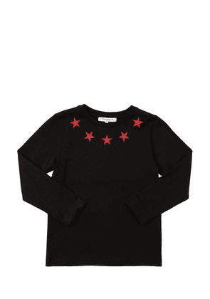 Star Print L/s Cotton Jersey T-shirt