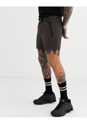 ASOS DESIGN utility shorts in nylon with webbed belt-Brown