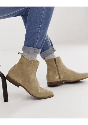ASOS DESIGN chelsea boots in stone suede with natural sole