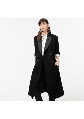 Collection tuxedo coat in fuzzy wool