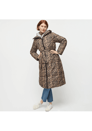 Petite leopard long belted puffer with PrimaLoft®