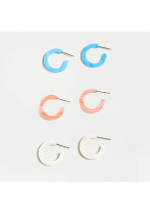 Mini acetate hoop earring three-pack