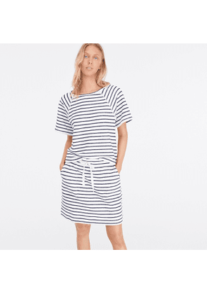 Striped terry boatneck beach top