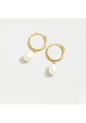 Demi-fine 14k gold-plated pearl hoop earrings