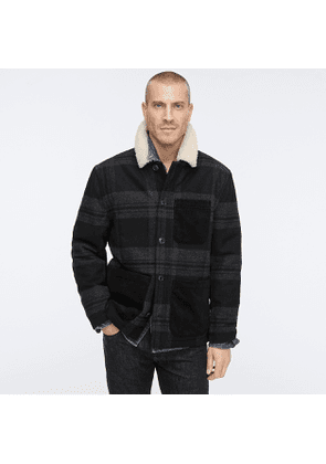 Wallace & Barnes sherpa-lined chore coat in plaid