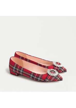Pointed-toe flat in red Stewart tartan with crystal buckle detail