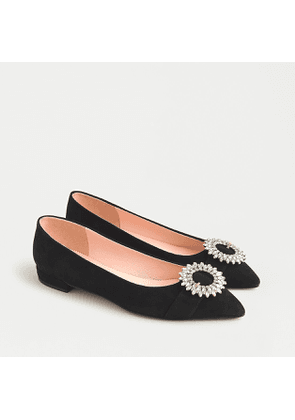 Pointed-toe flats in suede with crystal buckle detail