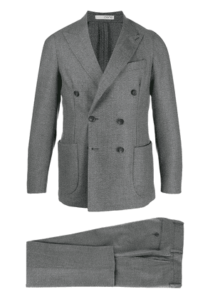 0909 double-breasted houndstooth suit - Grey